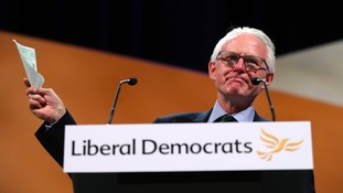 North Norfolk MP Norman Lamb giving his last speech as Lib Dem health spokesman at the party conference in Bournemouth.