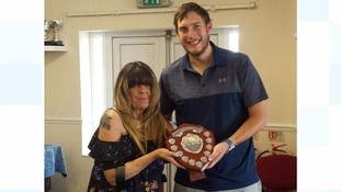Bill's wife, Hazel Barker, presenting the Bill Barker Memorial Trophy