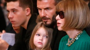 Celebrity inspiration? Harper Beckham, centre, may have helped prompt a surge for the name.