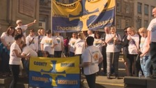 County Durham teaching assistants have held a number of protests and taken part in strike action in the dispute.