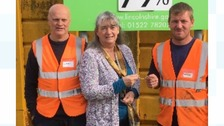Kath Groom with Grantham recycling centre workers