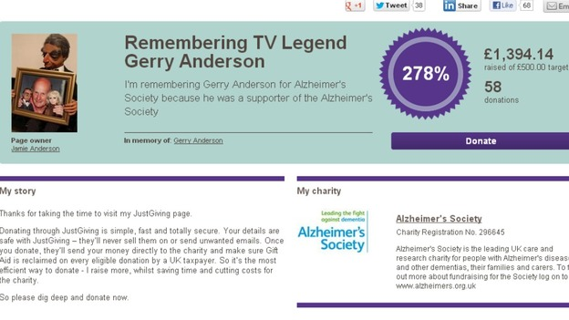 A JustGiving page has been set-up to remember Gerry Anderson, who suffered with Alzheimers.