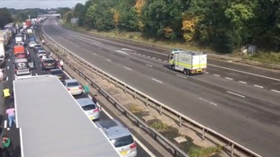 Police say a highly corrosive substance led to the M1 closure