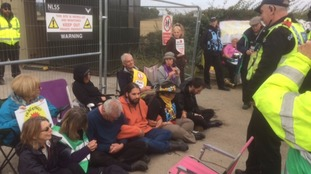 Protesters once again blocking the entrance to the fracking site at Kirby Misperton.