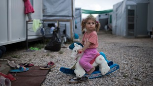 Three-year-old Ragika from Syria at a Greek refugee camp.