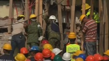 Rescue workers at the Rebsamen school.