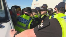 Protests are ongoing at the entrance to the fracking site at Kirby Misperton