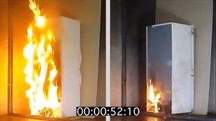 A fire service test showing a plastic-backed versus a metal-backed fridge in fire tests.