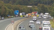 Traffic clearing from the M6 following collisions