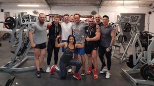 Schwarzenegger trains in Leeds gym ahead of black tie event