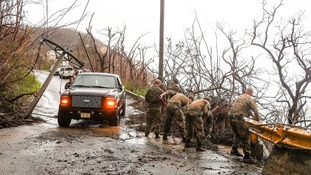 Assault Engineers clearing a flooded road in the BVI.
