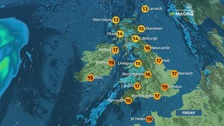 Wet and windy in the west, drier further east