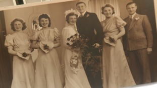 Fred and Connie on their wedding day 76 years ago.