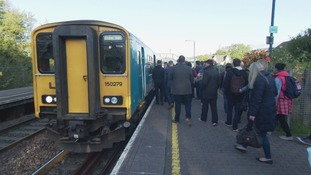 Commuters at Pontyclun station