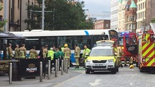 Pedestrian hit by bus in Belfast
