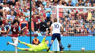 Harry Kane's double was enough to see off a spirited fight back from West Ham at the London Stadium