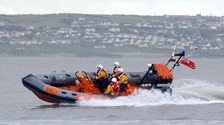 RNLI rescue attempt for 75ft yacht off Moelfre