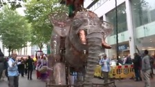 A life-size mechanical elephant was also a part of the parade.