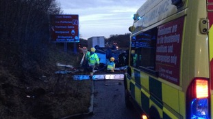 A man was taken to hospital after his van overturned