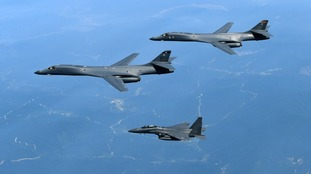 US and South Korean military planes take part in a recent joint exercise.