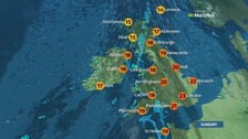 Patchy rain moving into the west but sunny in the east