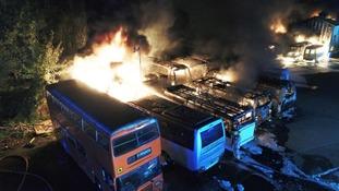 Blaze destroys 19 coaches at cement works