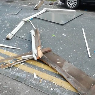 Debris litters the street in Blackpool