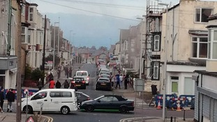 The aftermath of a 'gas explosion' in Blackpool