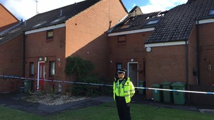 A police cordon at the scene of the fire.