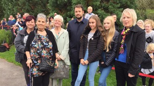Jason Manford was in Royton today at the opening of memorial benches for Alison Howe and Lisa Lees