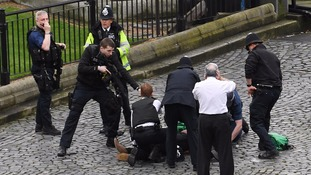 A policeman pointing a gun at Khalid Masood outside Westminster Palace.