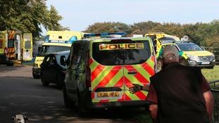 Police, ambulances and paramedics at the scene.