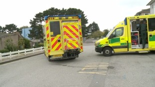 Crisis in the NHS: patients queue in ambulances at the Royal Cornwall Hospital