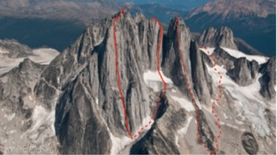 The climbers linked the west faces of the three towers in the Bugaboos