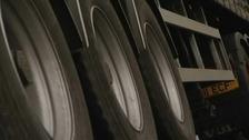 A lorry's wheels