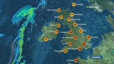 Weather: Largely dry with warm sunny spells today