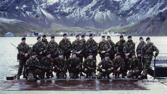 Royal Marine detachment at Grytviken, South Georgia in April 1982.