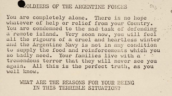 A leaflet produced to drop on Argentine forces on the Falkland Islands.