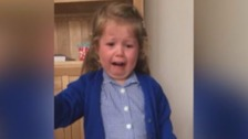 Funny moment little girl finds out she's having a brother