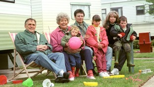 On a family holiday to a caravan park, along with the Platt family in 1995.