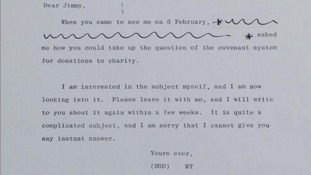 The Prime Minister sends a letter to Savile on February 25th 1980 following their meeting.