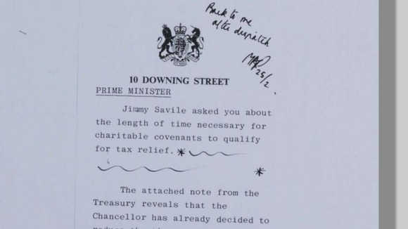 A note for the Primer Minister regarding Savile's enquiry for tax relief on charitable convenants (dated February 22nd 1980).