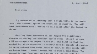 The Prime Minister writes to Savile for a second time on 14th April 1980.