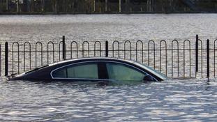 Car underwater at Worcester racecourse car park
