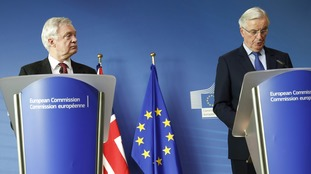 Brexit secretary David Davis and EU chief Brexit negotiator Michel Barnier.