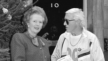 Margaret Thatcher pictured with Jimmy Savile outside No 10 Downing Street in 1988.
