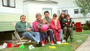 Stars of Coronation Street (from the left) Bill Tarmey, Liz Dawn, Daryl Edwards, Sean Wilson, Helen Worth, Lyndsay King and Thomas Ormson.