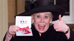 Coronation Street star Liz Dawn at Buckingham Palace after she received an MBE.