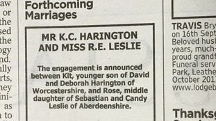 The notice in The Times announcing the couple's engagement.