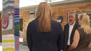 Griff Rhys Jones visiting the EACH Treehouse centre in Ipswich.